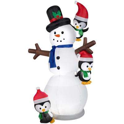 7 ft.  Inflatable Animated Swaying Snowman with Penguins