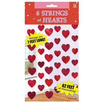 84 in. Valentine's Day Hearts String Decorations (6-Count, 3-Pack)
