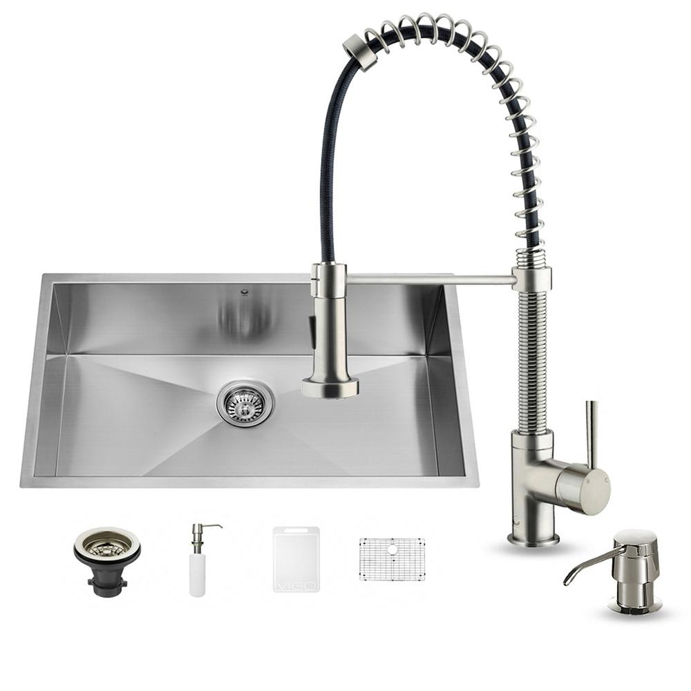 VIGO All In One Undermount Stainless Steel 32 In. 0 Hole Single Bowl  Kitchen Sink And Faucet Set VG15076   The Home Depot