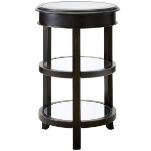 Bevel Mirror Antique Black and Gold Round Accent Table by