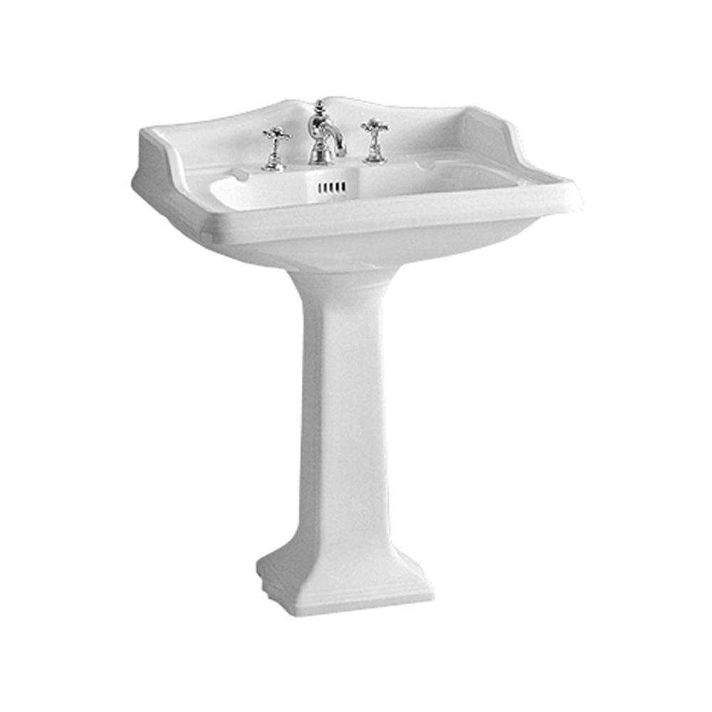 Isabella Collection Large Traditional Pedestal Combo Bathroom Sink in White