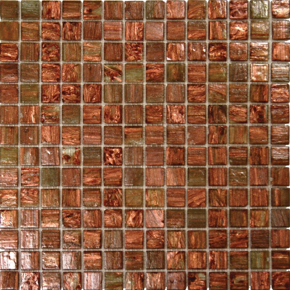 Light Brown Iridescent 12 In X 4 Mm Gl Mesh Mounted Mosaic Tile 20 Sq Ft Case