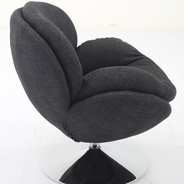 New Ridge Home Goods Comfy Grey Upholstered Swivel Scoop Chair 4220 Gry The Home Depot