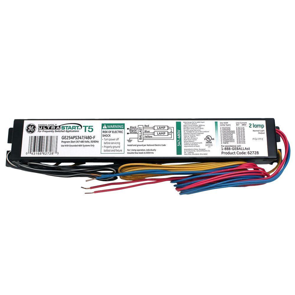 GE 347 To 480 Volt UltraStart Electronic Program/Rapid Start Ballast For T5  Fixture