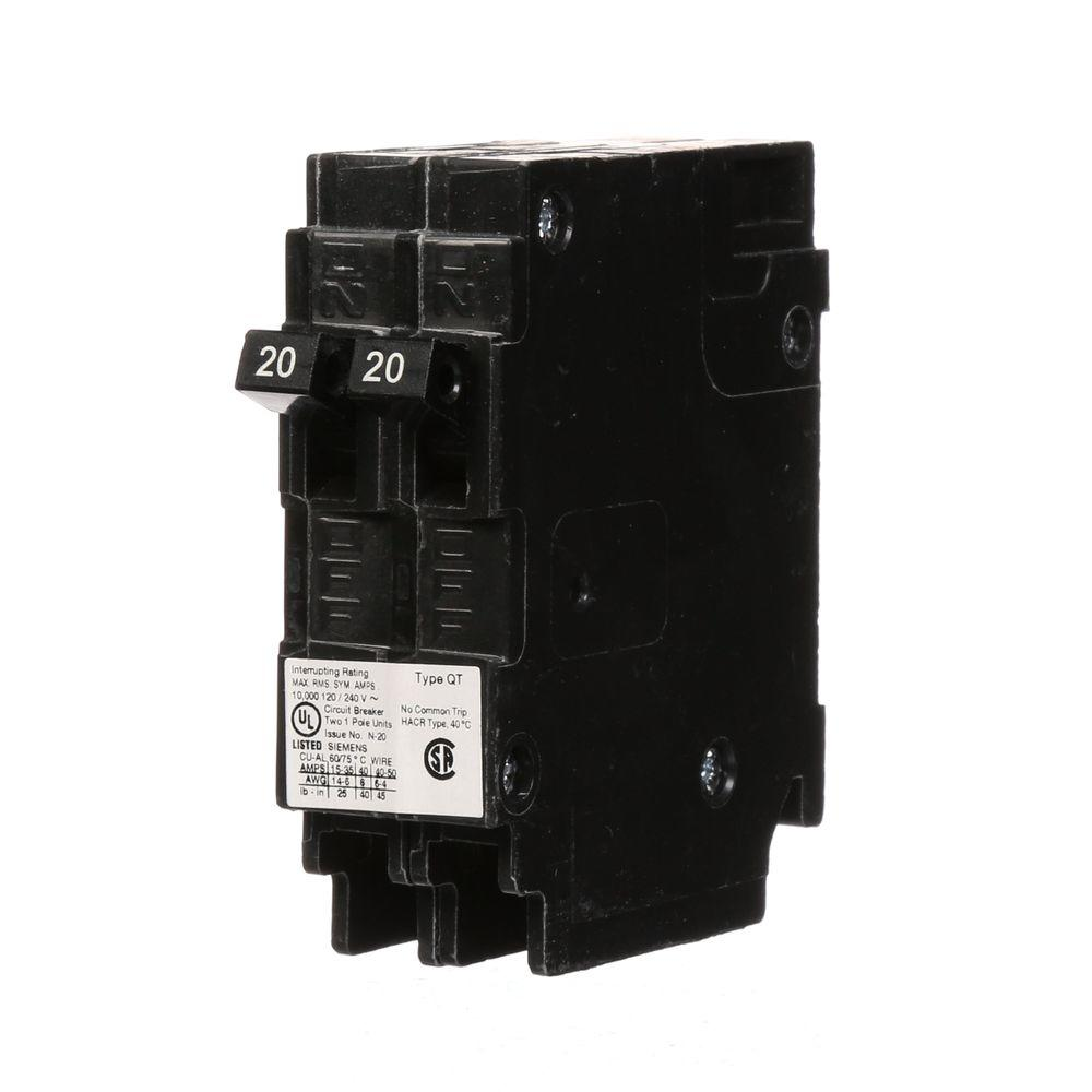 siemens 20 amp tandem single pole type qt ncl circuit breaker q2020nc the home depot. Black Bedroom Furniture Sets. Home Design Ideas