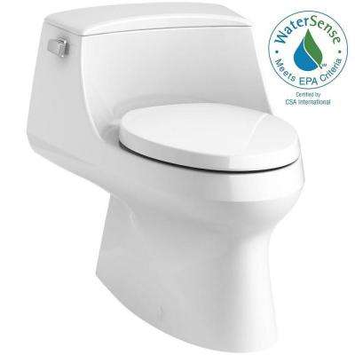 San Raphael 1-Piece 1.28 GPF Single Flush Elongated Toilet with Left-Hand Trip Lever in White