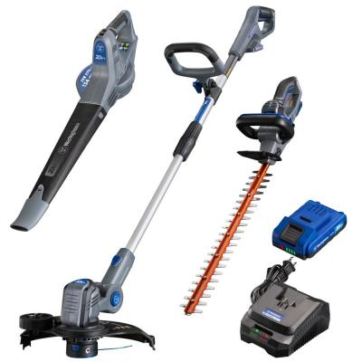 20-Volt Cordless String Trimmer/Edger, Hedge Trimmer, and Leaf Blower (3-Tool) 2 Ah Battery and Charger Included