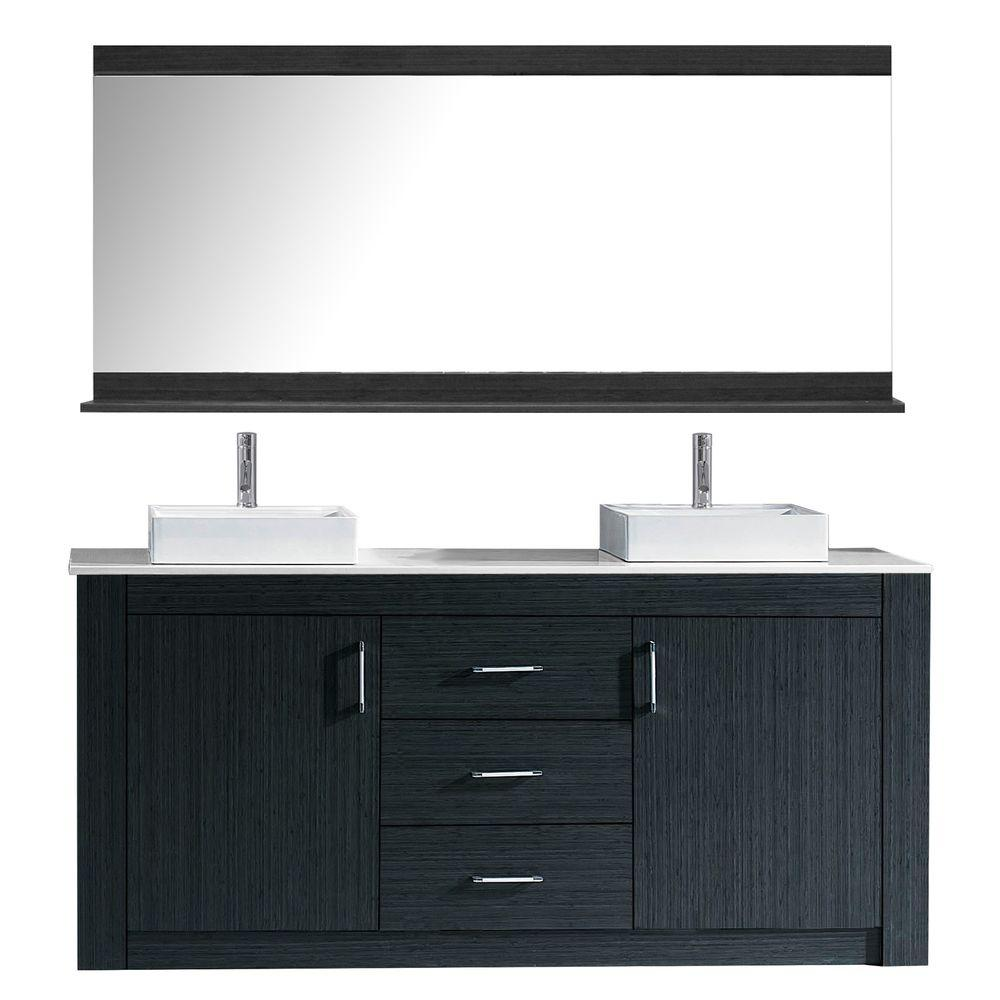 Virtu USA Tavian 60 In. W Bath Vanity In Gray With Stone Vanity Top In