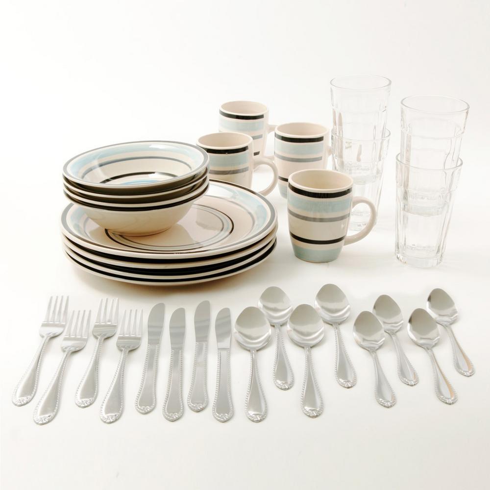 Deluxe Essentials 32-Piece Casual White/Blue Stoneware Dinnerware Set (Service for 4)
