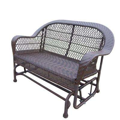 Coventry Coffee Wicker Outdoor Glider