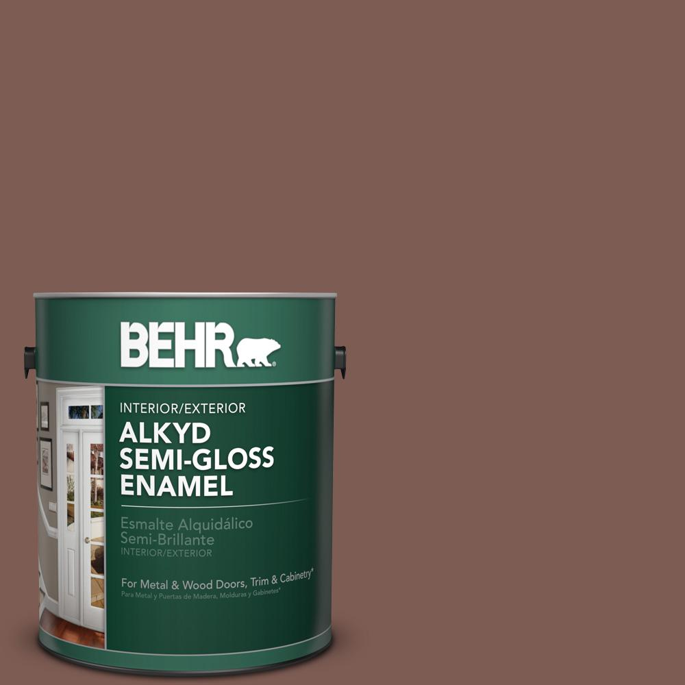 1 gal. #N160-6 Spanish Chestnut Semi-Gloss Enamel Alkyd Interior/Exterior Paint