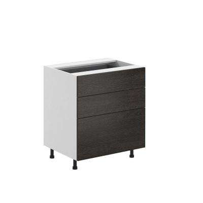 Leeds Ready to Assemble 30 x 34.5 x 24.5 in. 3-Drawer Base Cabinet in White Melamine and Door in Steel