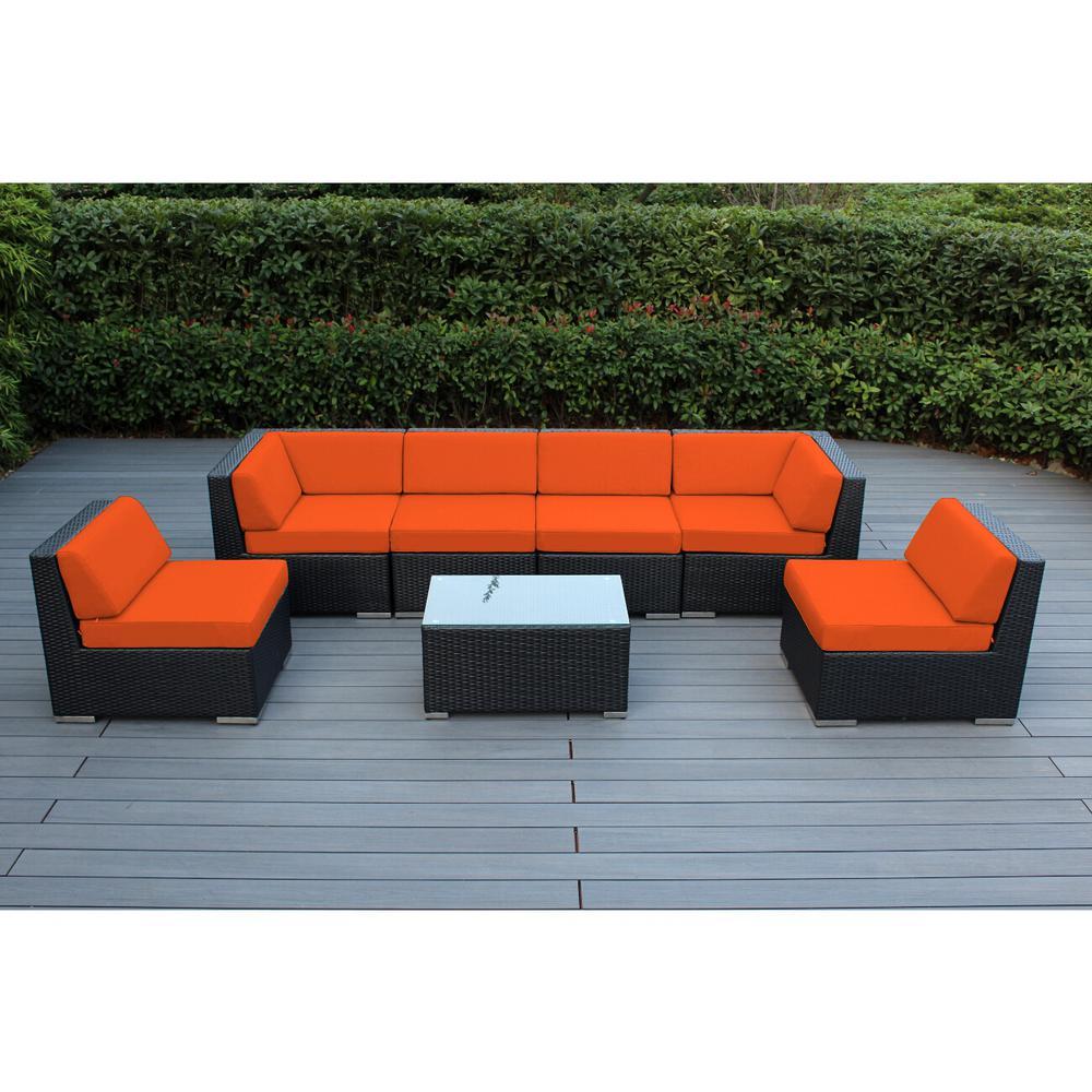Ohana Depot Black 7-Piece Wicker Patio Seating Set with Sunbrella Tuscan Cushions