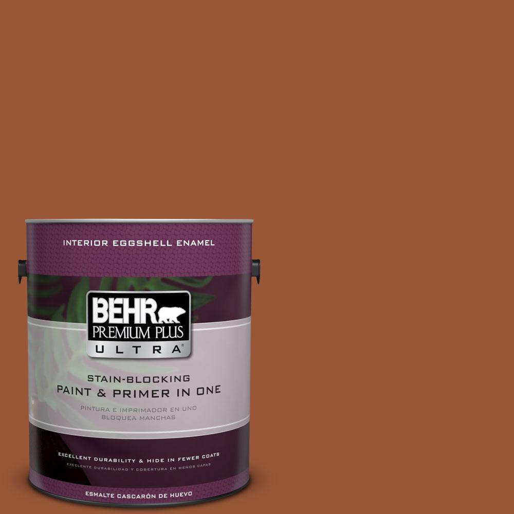1 gal. #230D-7 Cinnamon Brandy Eggshell Enamel Interior Paint and Primer