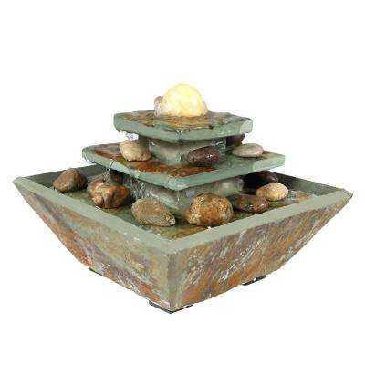 8 in. Ascending Slate Tabletop Fountain with LED Light