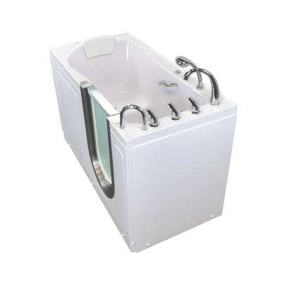 Deluxe 55 in. Acrylic Walk-In Air Bath and Micro Bubble Bathtub in White, Fast Fill Faucet Set, RHS 2 in. Dual Drain