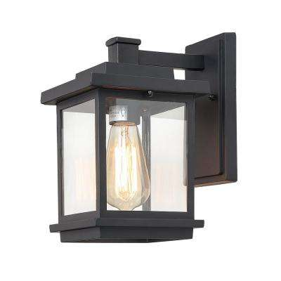Square 1-Light Black Outdoor Wall Mount Lantern with Clear Glass Shade