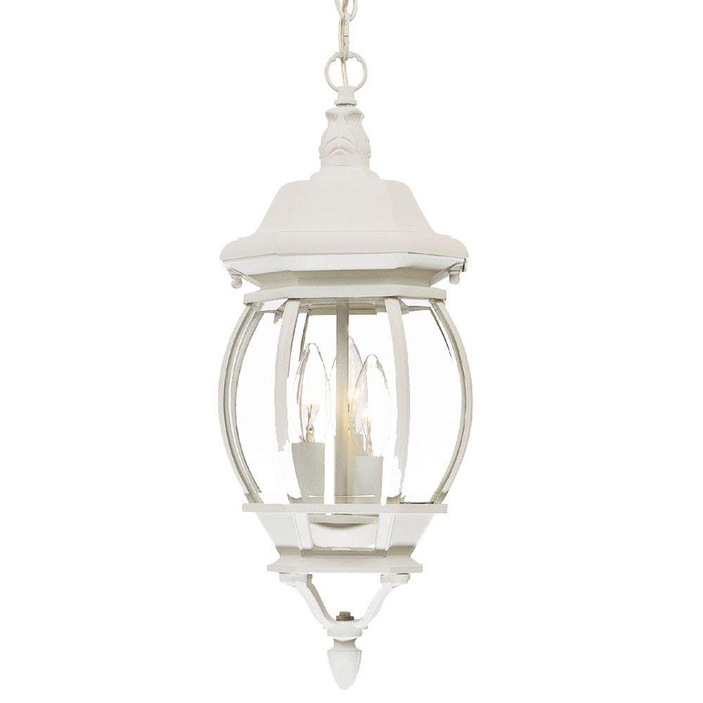 Acclaim lighting chateau collection 3 light textured white for Hanging outdoor light fixtures