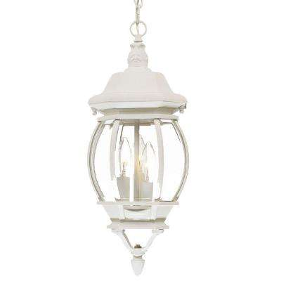 Chateau Collection 3-Light Textured White Outdoor Hanging Lantern Light Fixture