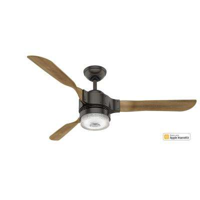 Apache 54 in. LED Indoor Noble Bronze Wi-Fi Enabled Apple HomeKit and Alexa Compatible Ceiling Fan with Remote