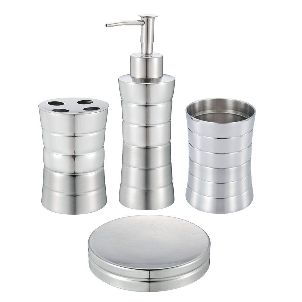Hopeful 4 Piece Stainless Steel Bath Accessory Set In Matte And Shiny Ba120215 Set4 The Home Depot