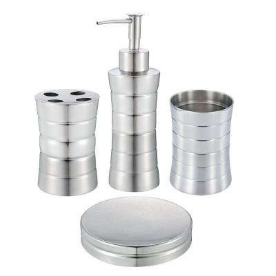 4-Piece Stainless Steel Bath Accessory Set in Matte and Shiny