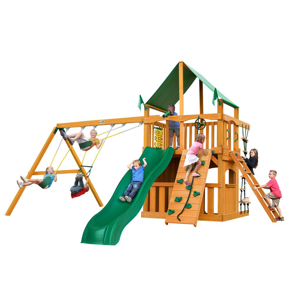 Gorilla Playsets Chateau Clubhouse Wooden Swing Set with Green Vinyl Canopy and Rock Wall