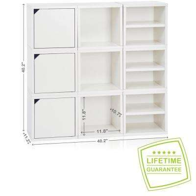Connect System 40.2 in. W x 40.2 in. H Modular Eco Stackable 9-Cube Cubby Organizer in Natural White