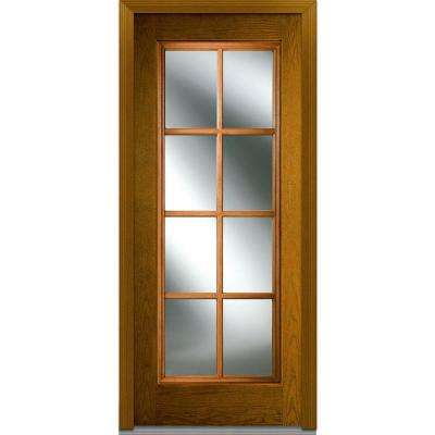 36 in. x 80 in. Simulated Divided Lites Left-Hand Inswing Full Lite Clear Stained Fiberglass Oak Prehung Front Door