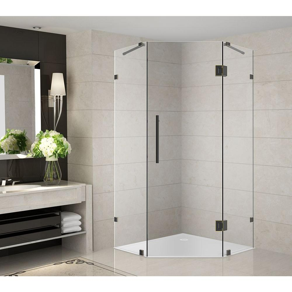 Aston Neoscape 36 In X 72 Completely Frameless Neo Angle Shower Enclosure Oil Rubbed Bronze