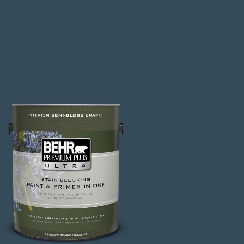 BEHR Premium Plus Ultra Home Decorators Collection 1-gal. #hdc-CL-28 Nocturne Blue Semi-Gloss Enamel Interior Paint, Blues