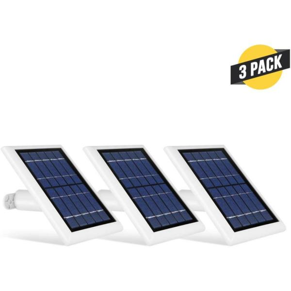 Solar Panel with Internal Battery for Blink Outdoor, Blink XT and Blink XT2 Security Camera (3-Pack, White)