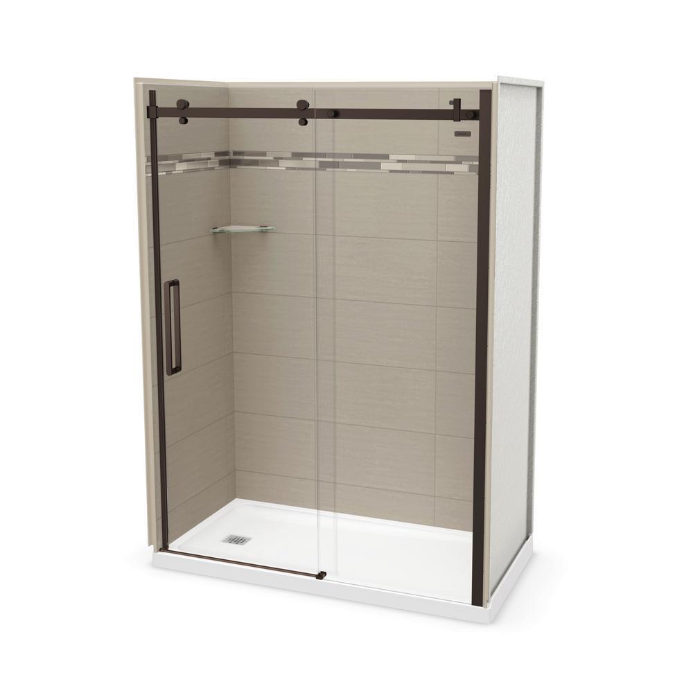 Utile Origin 32 in. x 60 in. x 83.5 in. Left Drain Alcove Shower Kit in Greige with Dark Bronze Shower Door