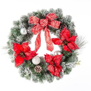 24 in. Unlit Artificial Christmas Snowy Pine Wreath with Red Poinsettias and Bow