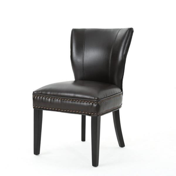 Noble House Jackie Brown Leather Accent Dining Chair (Set of 1)