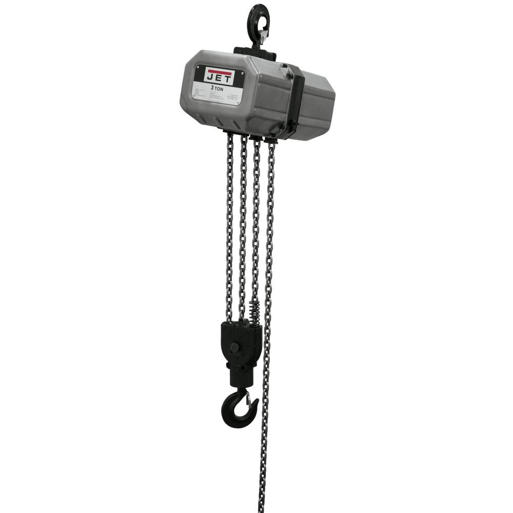 Jet 3-Ton Capacity 20 ft. Lift Electric Chain Hoist 1-Phase 115/230 on