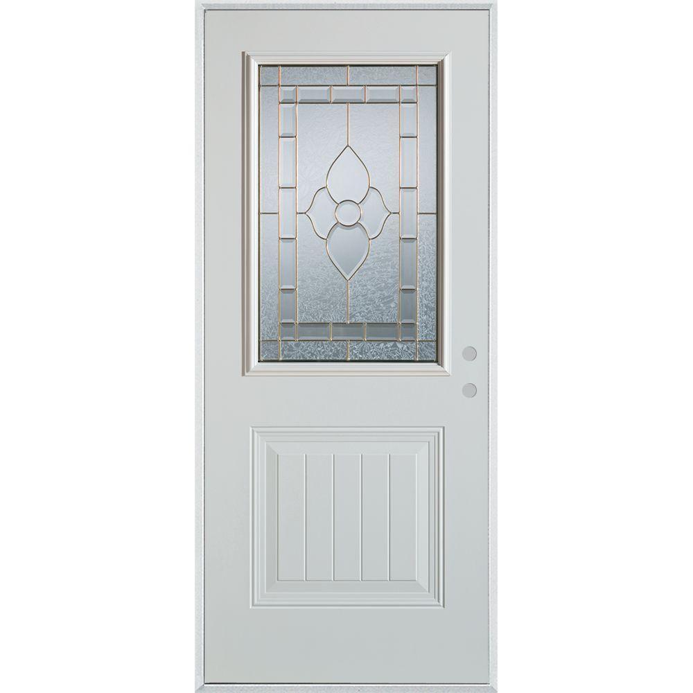 Stanley Doors 37.375 in. x 82.375 in. Traditional Brass 1/2 Lite 1-Panel Prefinished White Left-Hand Inswing Steel Prehung Front Door