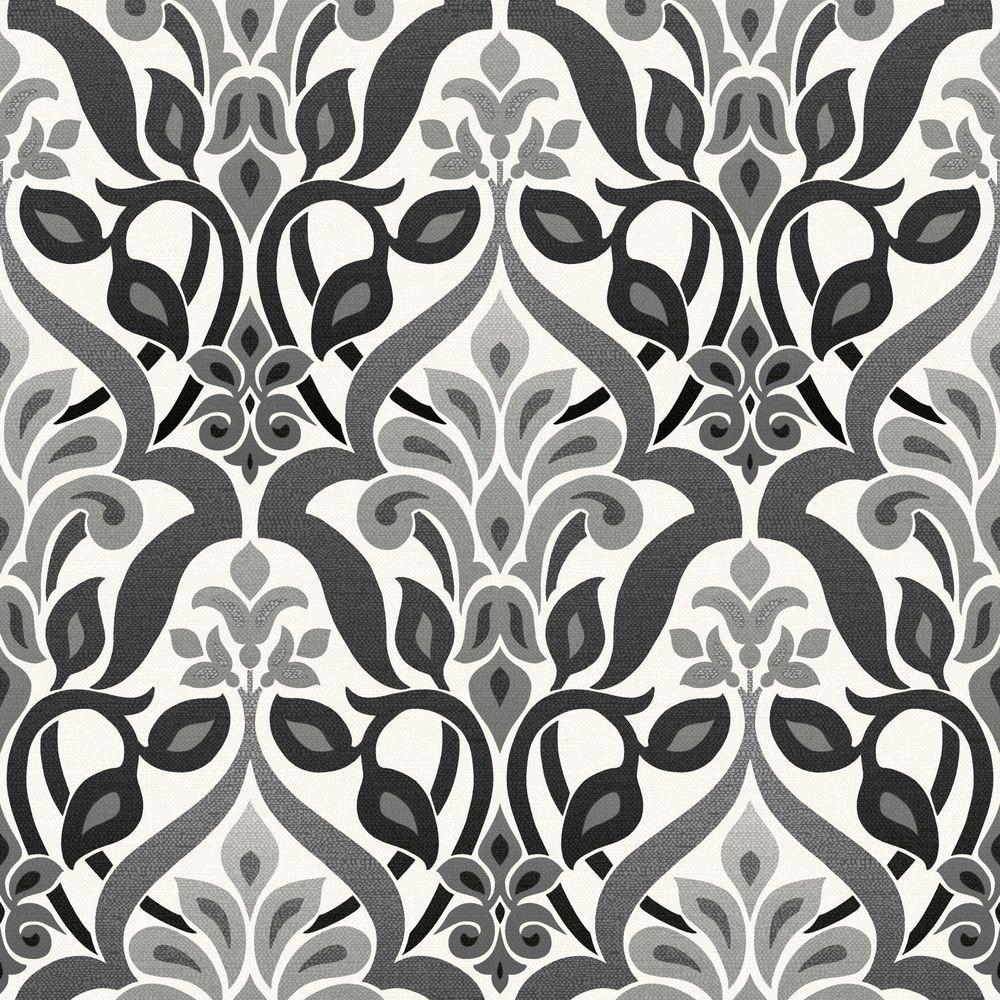 Fusion Black Ombre Damask Wallpaper Sample