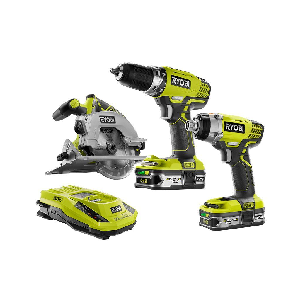 ryobi 18 volt one lithium ion cordless combo kit 3 tool p1874 the home depot. Black Bedroom Furniture Sets. Home Design Ideas