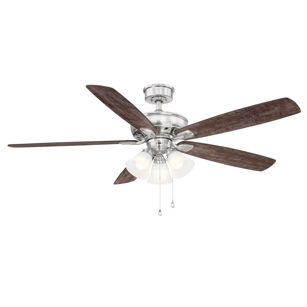 Hampton Bay Wellton 60 in. LED Brushed Nickel DC Motor Ceiling Fan with Light