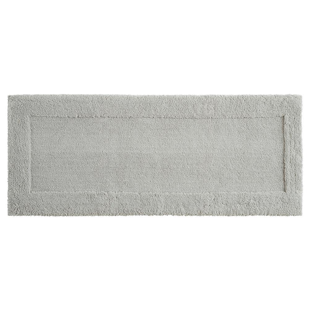 Dynasty 24 in. x 60 in. Micro Denier Polyester Runner Bath Rug in Gray