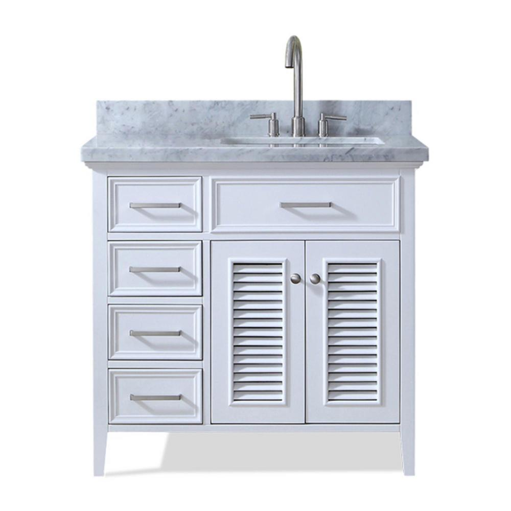 Ariel Kensington 37 in. Vanity in White with Marble Vanity Top in ...