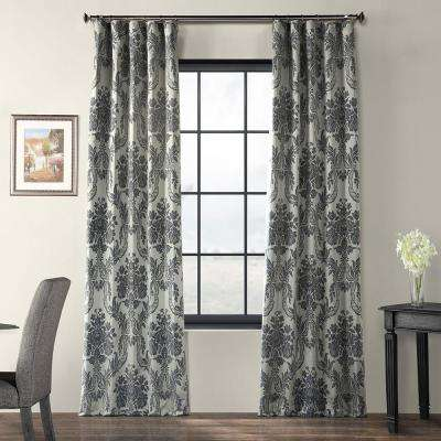 Magdelena Silver and Blue Faux Silk Jacquard Curtain Panel - 50 in. W x 120 in. L