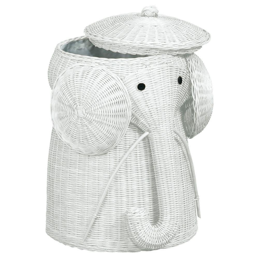 Home Decorators Collection Elephant White Laundry Hamper
