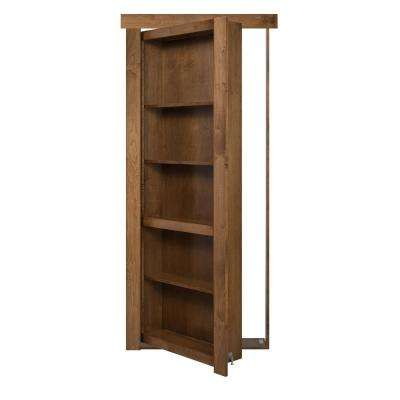 24 in. x 80 in. Flush Mount Assembled Maple Medium Brown Stained Left-Hand Inswing Solid Core Interior Bookcase Door