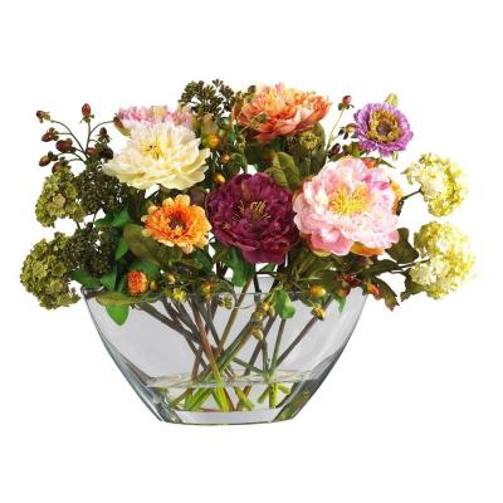 14 In. Peony Silk Flower Arrangement with Glass Vase