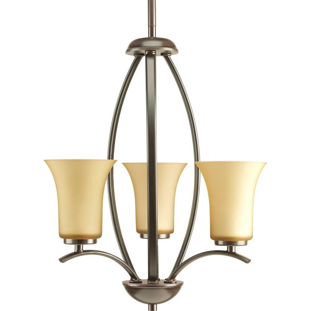 Joy Collection 3-Light Antique Bronze Foyer Pendant with Etched Light Umber