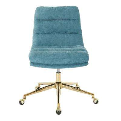 Legacy Sky Fabric with Gold Base Office Chair
