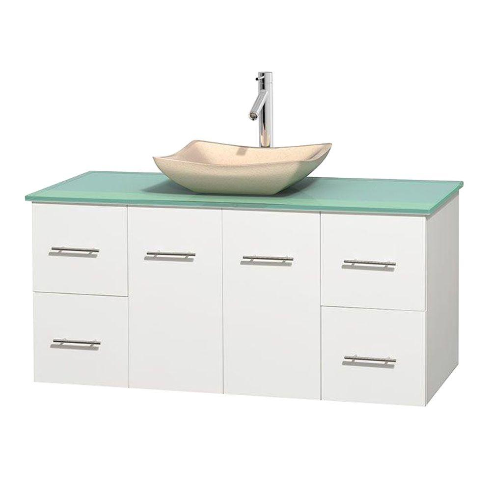 Centra 48 in. Vanity in White with Glass Vanity Top in