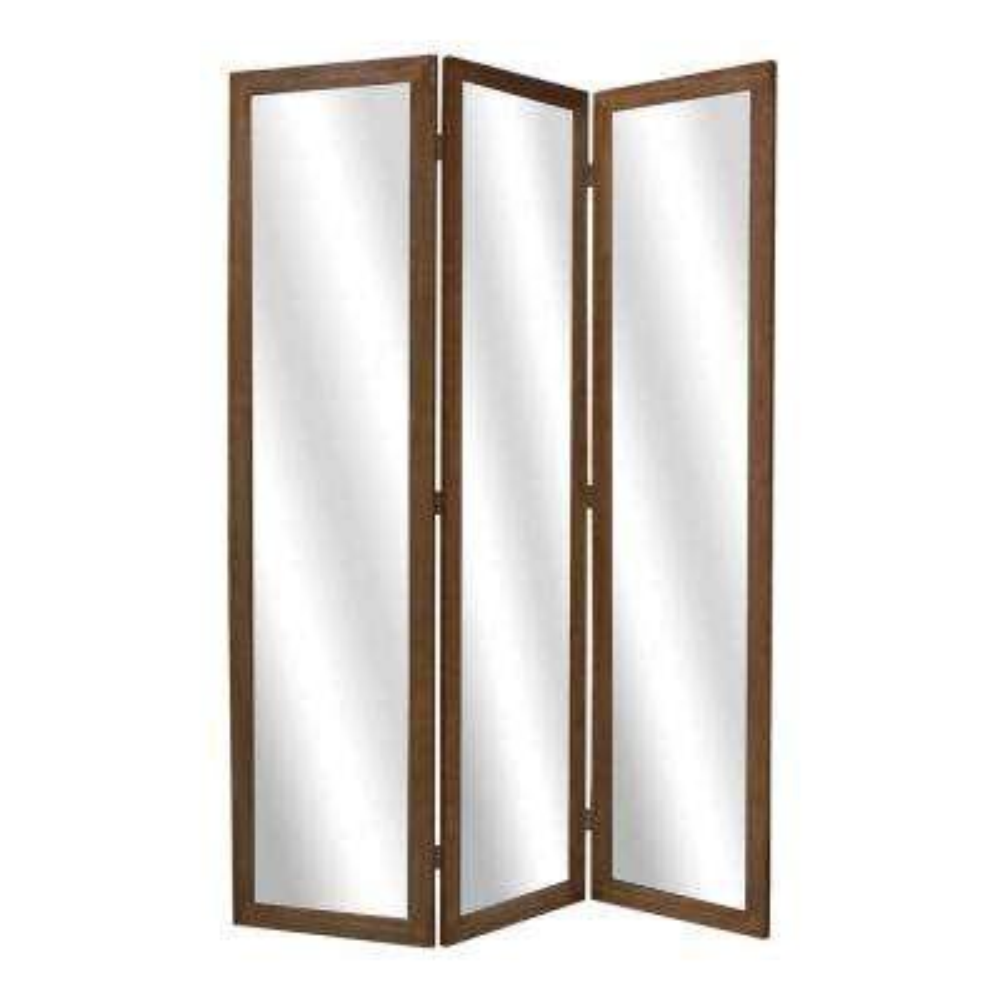 MIRRIOR 5.5 ft. Brown 3-Panel Room Divider